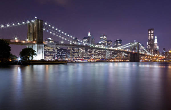 Photograph - Brooklyn Bridge At Night 3 by Val Black Russian Tourchin