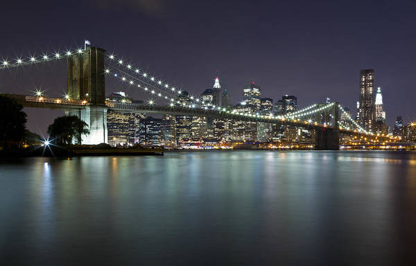 Photograph - Brooklyn Bridge At Night 5 by Val Black Russian Tourchin