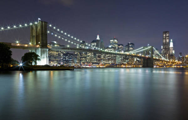 Photograph - Brooklyn Bridge At Night 7 by Val Black Russian Tourchin