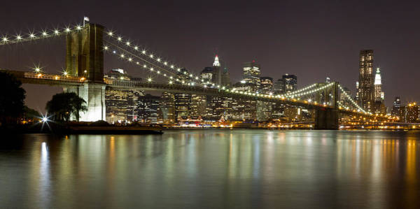 Photograph - Brooklyn Bridge At Night Panorama 1 by Val Black Russian Tourchin