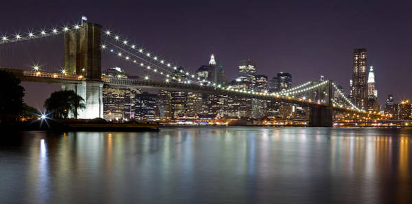 Photograph - Brooklyn Bridge At Night Panorama 2 by Val Black Russian Tourchin