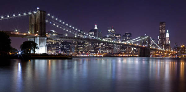 Photograph - Brooklyn Bridge At Night Panorama 3 by Val Black Russian Tourchin