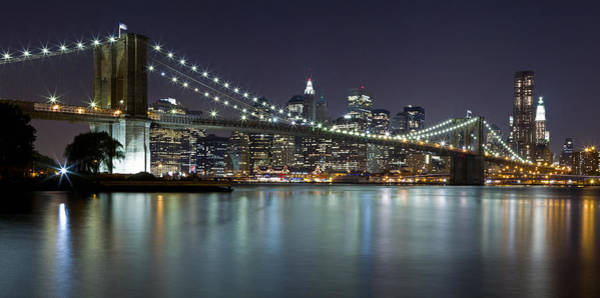 Photograph - Brooklyn Bridge At Night Panorama 5 by Val Black Russian Tourchin