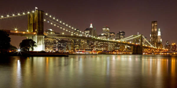 Photograph - Brooklyn Bridge At Night Panorama 9 by Val Black Russian Tourchin