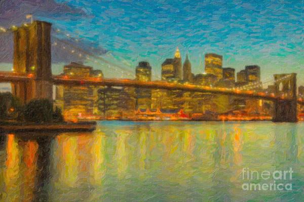 Photograph - Brooklyn Bridge Twilight Impasto by Clarence Holmes