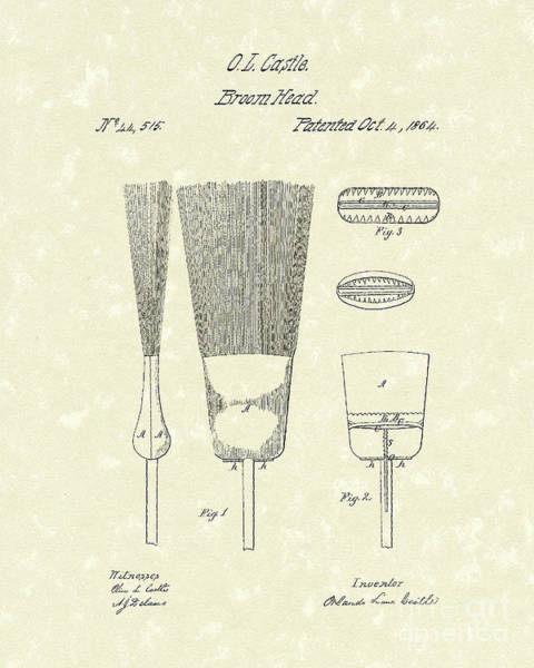 1864 Wall Art - Drawing - Broom Head 1864 Patent Art by Prior Art Design