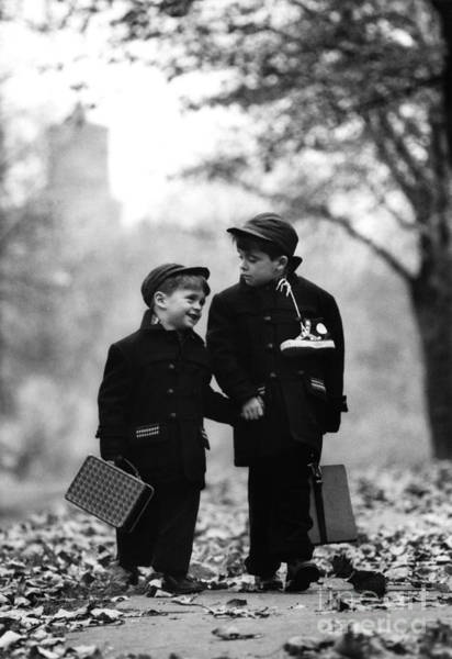 Wall Art - Photograph - Brothers Walk To School by Carroll Seghers and Photo Researchers