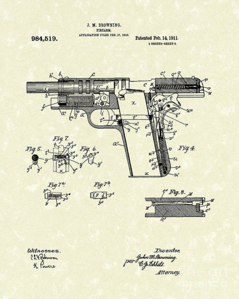 Drawing - Browning Handgun 1911 Patent Art by Prior Art Design