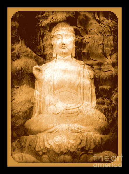Photograph - Buddha And Ancient Tree With Border by Carol Groenen