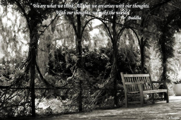 Photograph - Buddha Quote On Tranquil Sitting Area  by Sarah Broadmeadow-Thomas