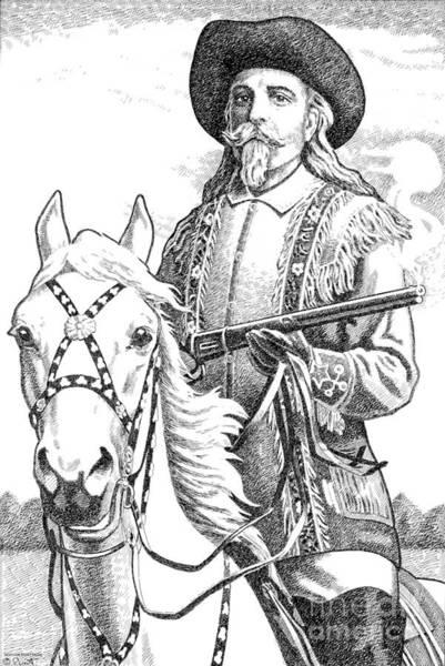 Drawing - Buffalo-bill-cody by Gordon Punt