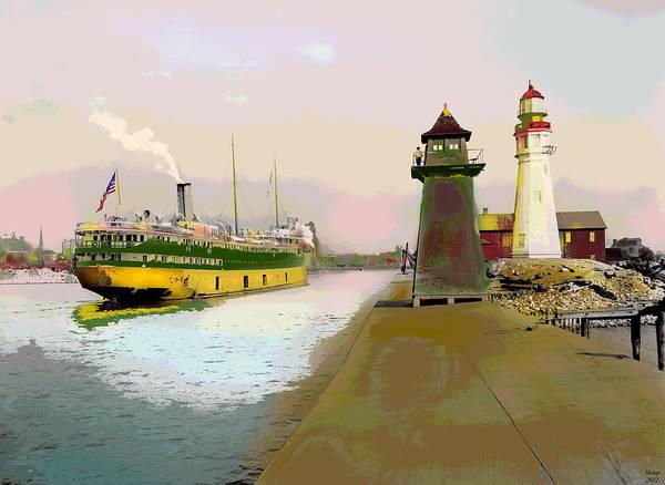 South Buffalo Mixed Media - Buffalo Harbor Lighthouse by Charles Shoup