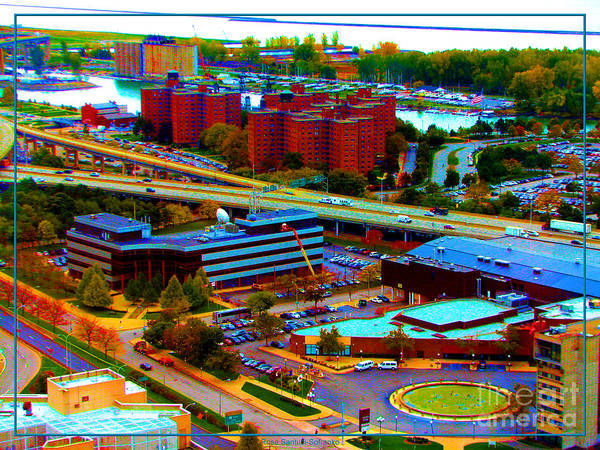 Photograph - Buffalo New York Aerial View Neon Effect by Rose Santuci-Sofranko