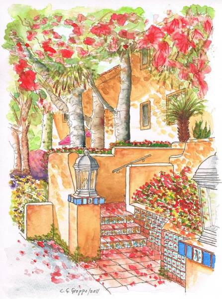 Acuarela Painting - Building Around My Apartment In West Hollywood - California by Carlos G Groppa