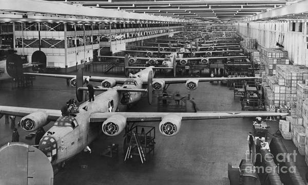 B24 Photograph - Building Bombers, C.1941 by Omikron
