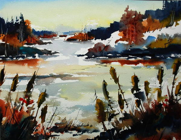 Bullrush Painting - Bull Frog Bay by Wilfred McOstrich