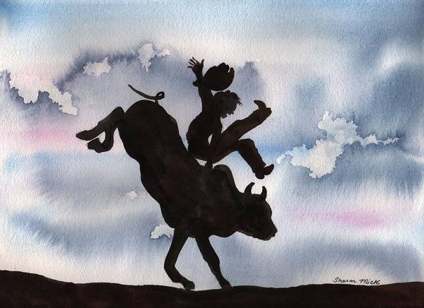 Thrilling Painting - Bull Riding by Sharon Mick