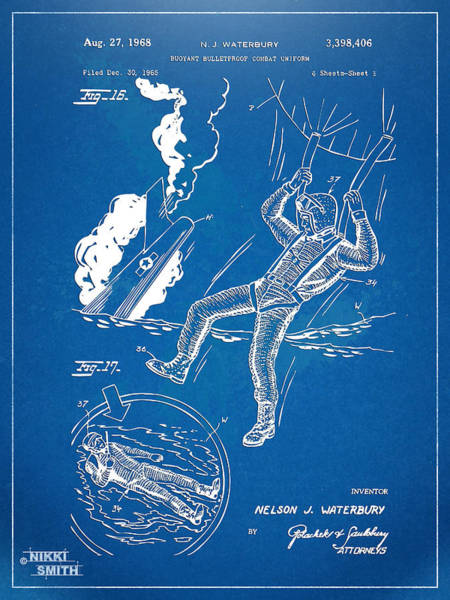 Navy Seal Wall Art - Digital Art - Bulletproof Patent Artwork 1968 Figures 16 To 17 by Nikki Marie Smith