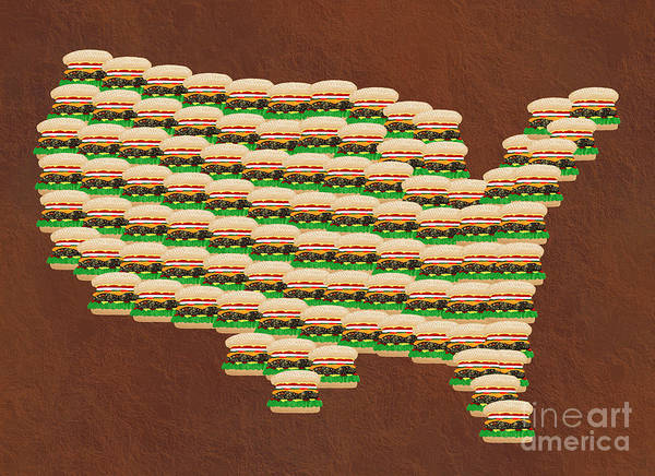 Mixed Media - Burger Town Usa Map Brown by Andee Design