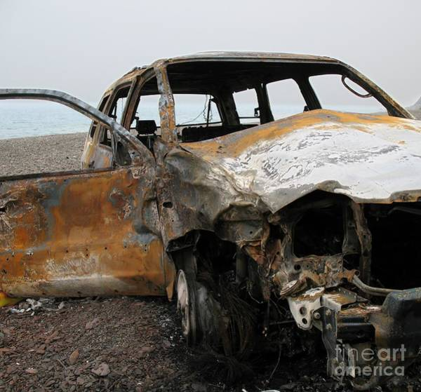Flammable Wall Art - Photograph - Burned Out Car Wreck by Yali Shi