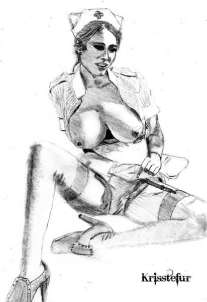 Nipples Drawing - Busty Nurse by Kriss Tefur