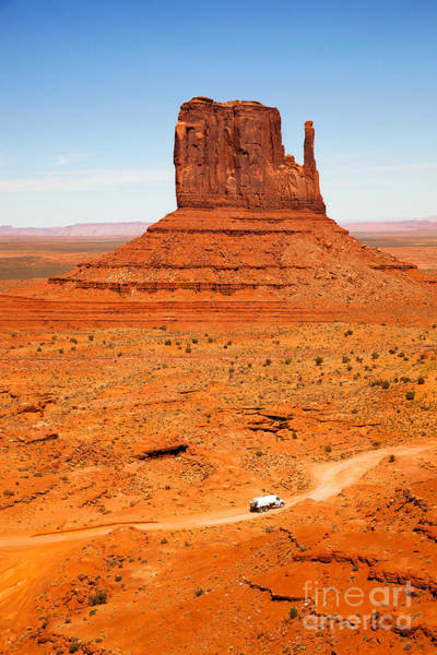 Navajo Indian Reservation Photograph - Butte With Truck by Jane Rix