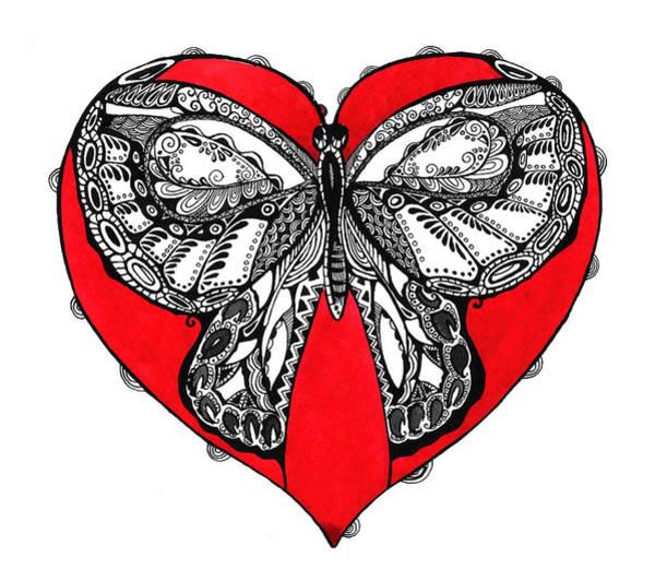 Organic Garden Drawing - Butterfly In Red Heart by Ievgeniia Lytvynovych