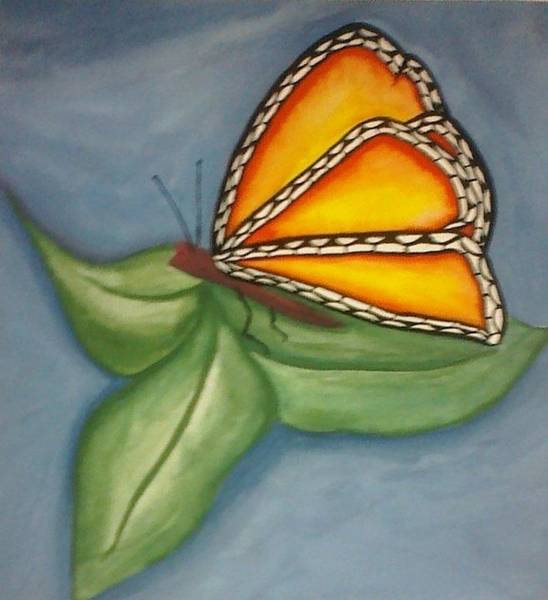 Guache Painting - Butterfly On A Leaf by Anna Duffy