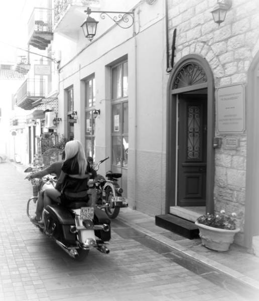 Photograph - Bw Girl Riding Glowing Motorcycle Bike Rider Speed Stone Paved Street In Nafplion Greece Oval  by John Shiron