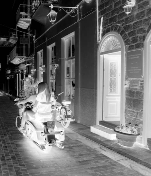Photograph - Bw Girl Riding Glowing Motorcycle Bike Rider Speed Stone Paved Street In Nafplion Greece Xray  by John Shiron