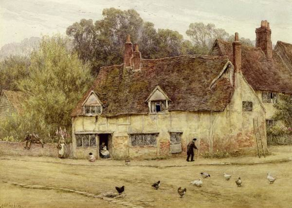 Half Timbered Painting - By The Old Cottage by Helen Allingham