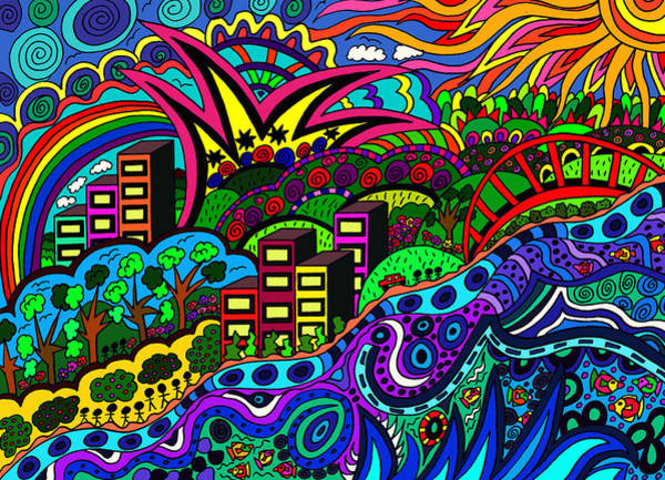 Wall Art - Drawing - By The River Side by Karen Elzinga