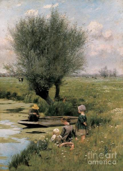Punt Painting - By The Riverside by Emile Claus