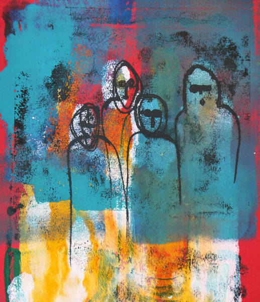 Monotype Mixed Media - Bystanders by Diana Blackwell
