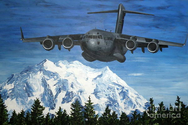 Mount Rainier Painting - C-17 And Mt. Rainier by Holly York