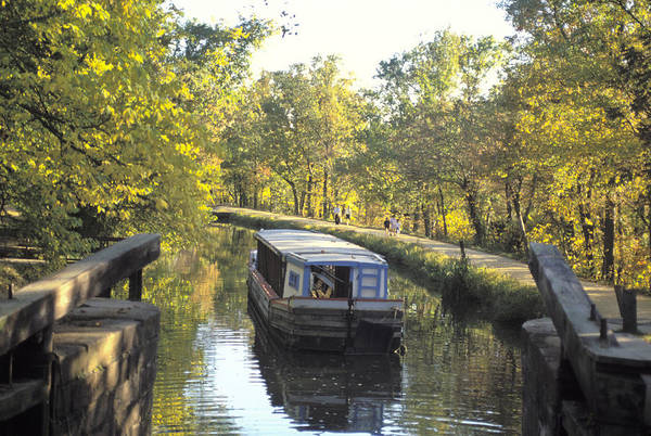 Chesapeake And Ohio Wall Art - Photograph - C & O Canal And Towpath With Barge by Richard Nowitz