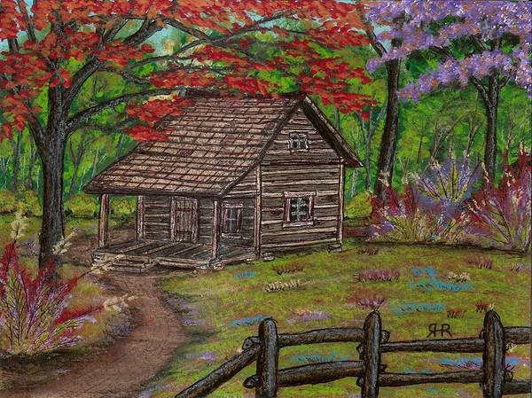 Cabin In The Woods Wall Art - Painting - Cabin At Cherry Lane by Ray Ratzlaff