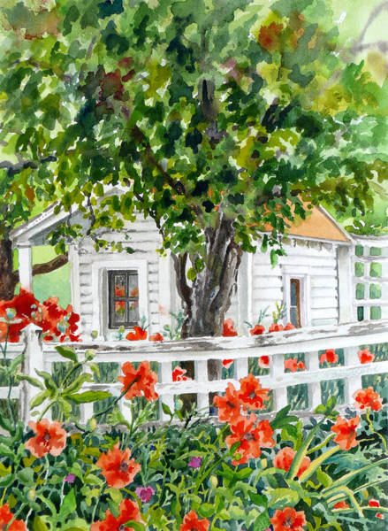 Painting - Cabin At Long's Gardens by Anne Gifford