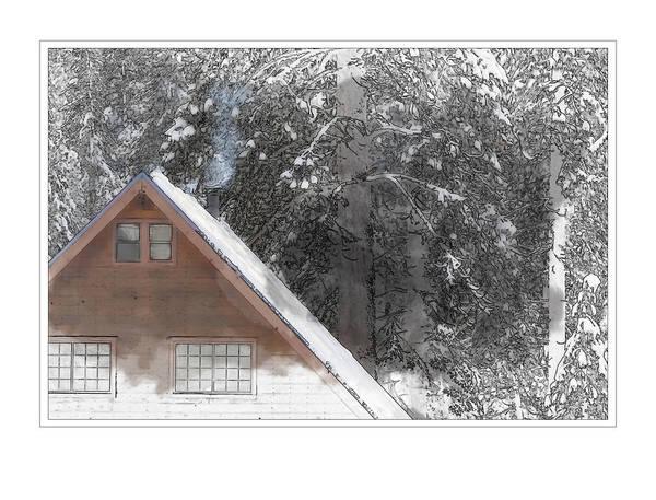 Digital Art - Cabin In The Winter by Brandon Bourdages