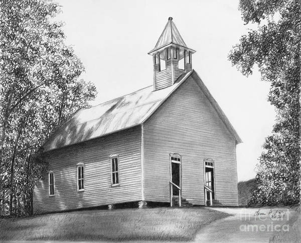 Grass Drawing - Cades Cove Methodist Church by Lena Auxier