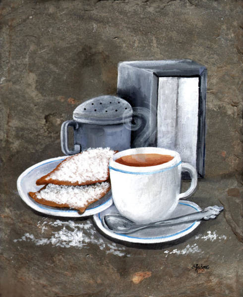 Doughnut Painting - Cafe Au Lait And Beignets by Elaine Hodges