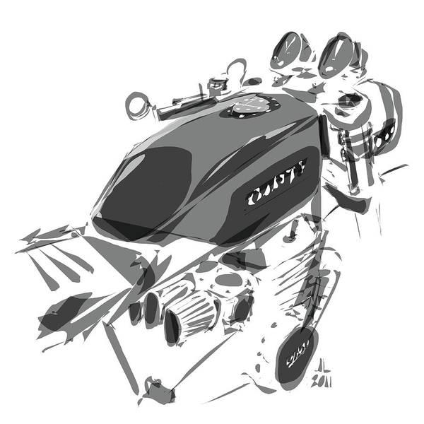 Hot Rod Drawing - Cafe by Jeremy Lacy