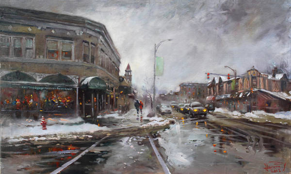 Caffe Wall Art - Painting - Caffe Aroma In Winter by Ylli Haruni