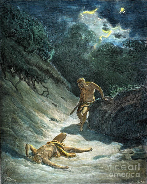 Drawing - Cain And Abel by Gustave Dore