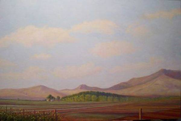 Fencepost Painting - Cali Farm by Janet Beckman