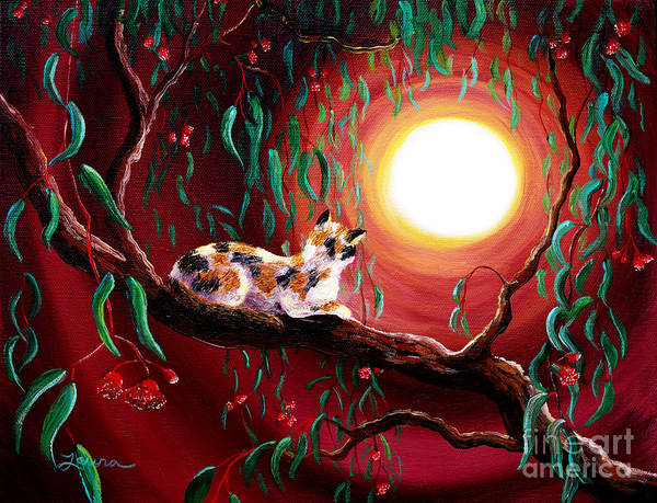Wall Art - Painting - Calico Cat In Eucalyptus Boughs by Laura Iverson