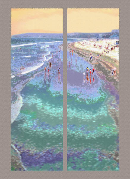 Fun Wall Art - Photograph - California Beachgoers Diptych by Steve Ohlsen