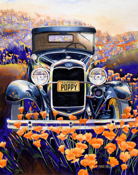 Collector Car Painting - California Poppy by Mike Hill