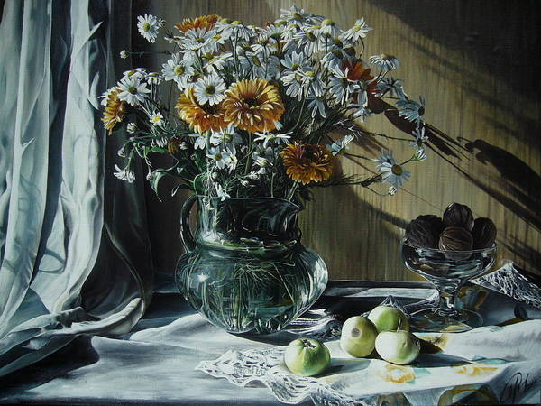 Wall Art - Painting - Camomiles by Oleg Dashevsky
