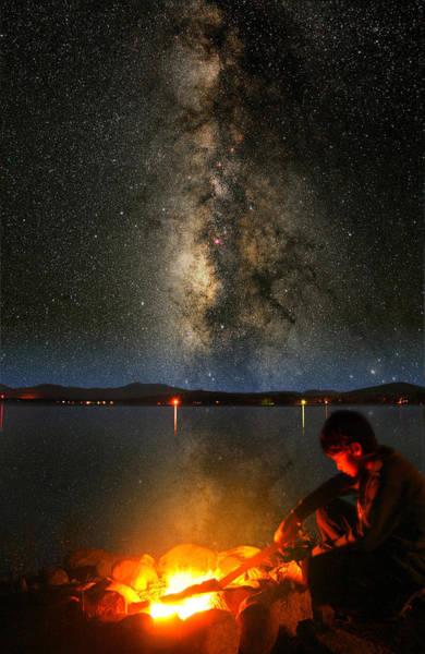 Ossipee Wall Art - Photograph - Campfire Milky Way by Larry Landolfi